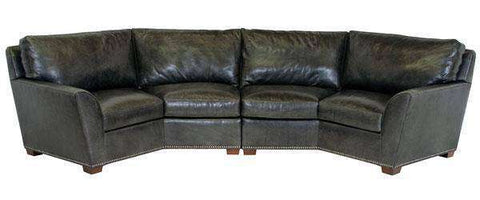 Leather Sectional Sofa Hugo 2 Piece Wing Arm Leather Conversation Sectional (As Configured)