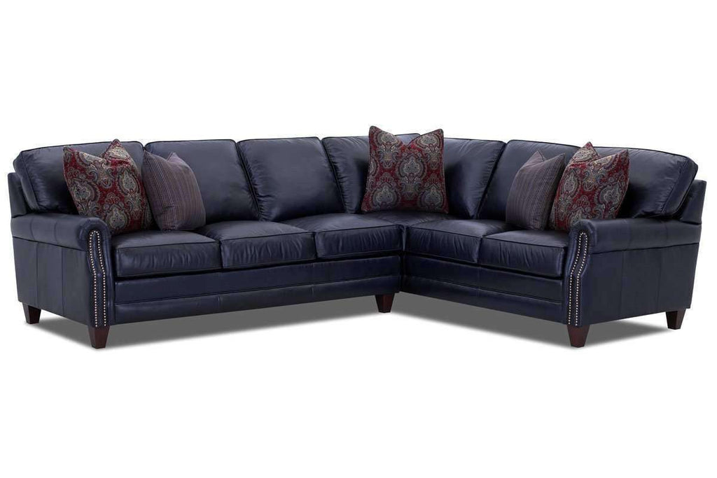 Oswald L-Shaped Two Piece Leather Nailhead Sectional (As Configured)