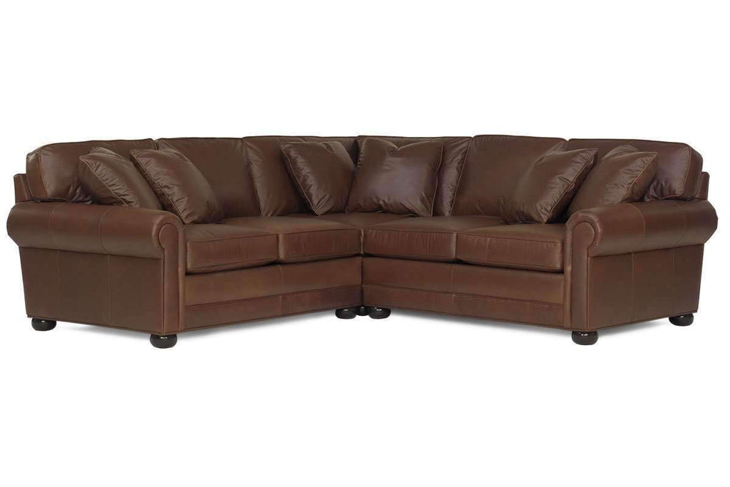 Sheffield Three Piece Deep Seated Leather Sectional Sofa As Configured