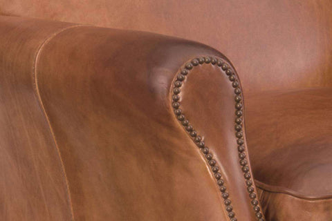 "Lee ""Quick Ship"" Tight Back Leather Roll Arm Small Accent Chair"