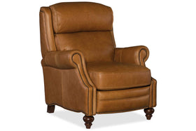 "Living Room Furniture Recliner Chairs Leather Leopold ""Quick Ship"" Traditional Bustle Back Leather Recliner"