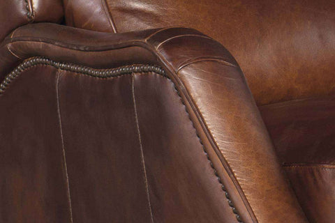 "Living Room Furniture Recliner Chairs Leather Leroy ""Quick Ship"" Bustle Back Leather Recliner"