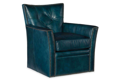 "Lincoln ""Quick Ship"" Leather Button Back Swivel Accent Chair"