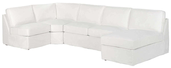 Living Room Ava Fabric Slipcovered Armless Contemporary Sectional Sofa