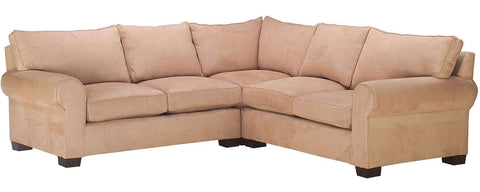 Living Room Bailey Oversized Fabric Rolled Arm Sectional Couch