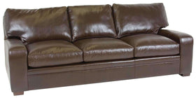 "Living Room Benjamin ""Designer Style"" Saddle Stitched Leather Track Arm Sofa"