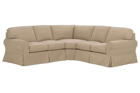 Living Room Camden Slipcovered Sofa Sectional With Dressmaker Skirt