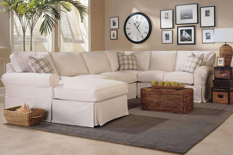 "Living Room Christine ""Designer Style"" Fabric Slipcovered Sectional Couch"