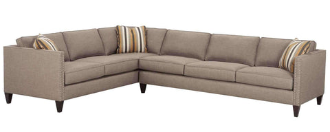"Living Room Connie ""Designer Style"" Track Arm Fabric Sectional With Nailhead Trim"