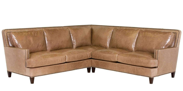 "Living Room Desmond ""Designer Style"" Contemporary Leather Sectional With Nails"