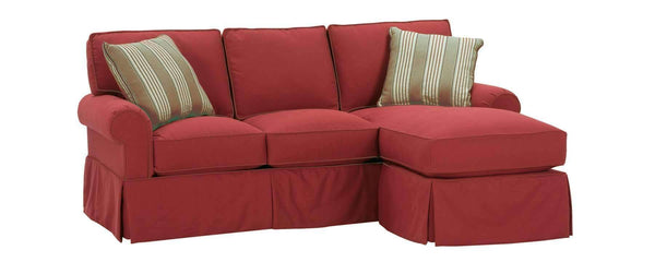 "Living Room Emily ""Designer Style"" Small Faux Slipcover Sofa With Reversible Chaise"
