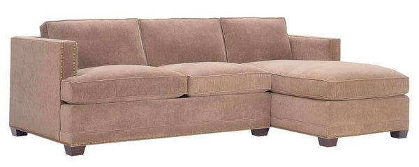 Living Room Finley Fabric Upholstered Sectional With Nailhead Trim