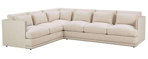 "Living Room Gretchen ""Designer Style"" Fabric Sectional w/ Nailhead Trim"