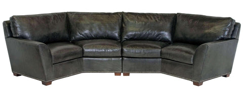 "Living Room Hugo ""Designer Style"" Wing Arm Leather Sectional Conversation Couch"