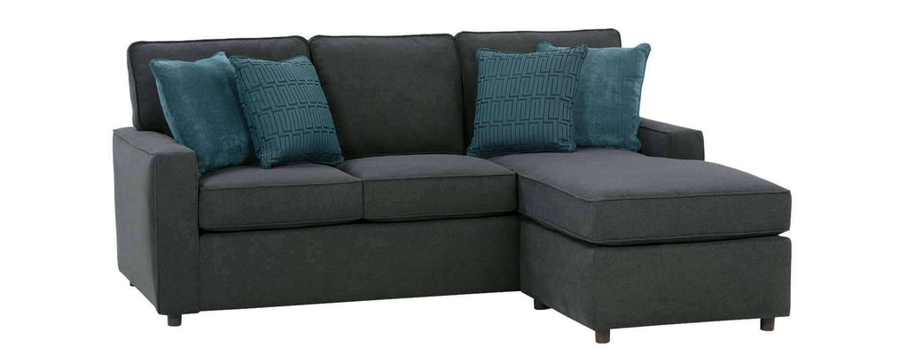 Jennifer designer style apartment size reversible chaise - Apartment sofa with chaise ...