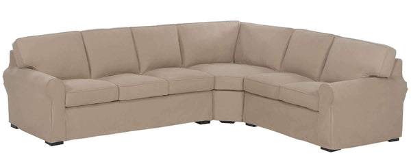 Gentil Living Room Lauren Slipcovered Sofa Rolled Arm Sectional Sofa With No Skirt  ...