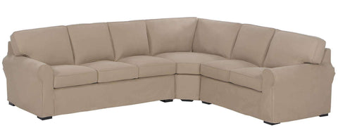 Living Room Lauren Slipcovered Sofa Rolled Arm Sectional Sofa With No Skirt
