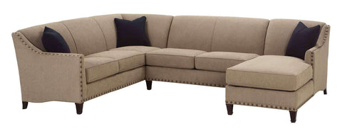 "Living Room Mariana ""Designer Style"" Tight Back Fabric Sectional w/ Nailhead Trim"