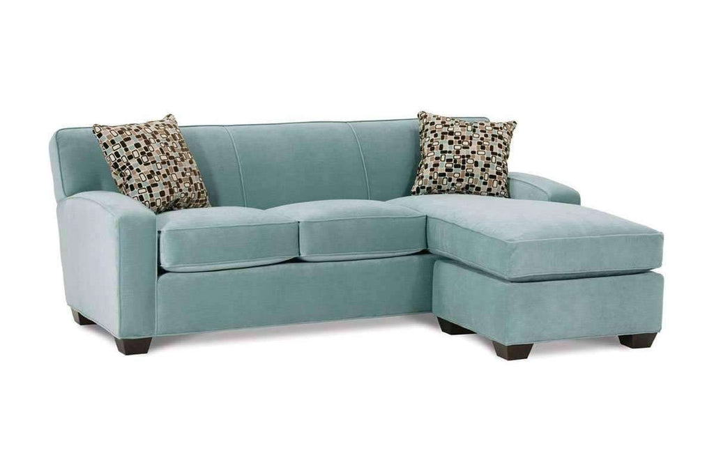 Michelle designer style fabric apartment size reversible chaise sofa - Apartment size sectional sofa ...
