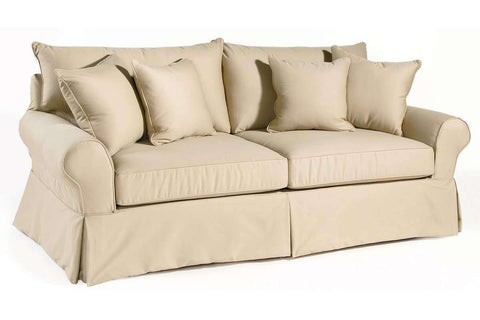 Living Room Sharon Slipcovered Collection w/ Knife Edge Back Pillows