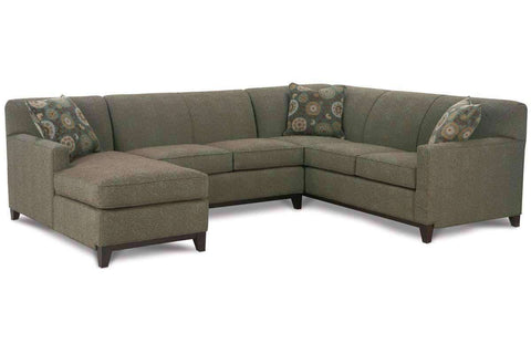 "Living Room Solomon ""Designer Style"" Tight Back Track Arm Fabric Sectional Couch"