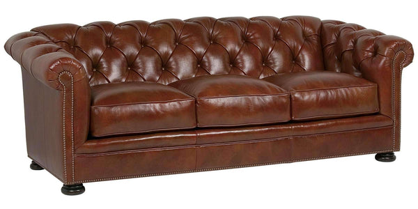 "Living Room Thurston ""Designer Style"" Leather Button Tufted Back Sofa"