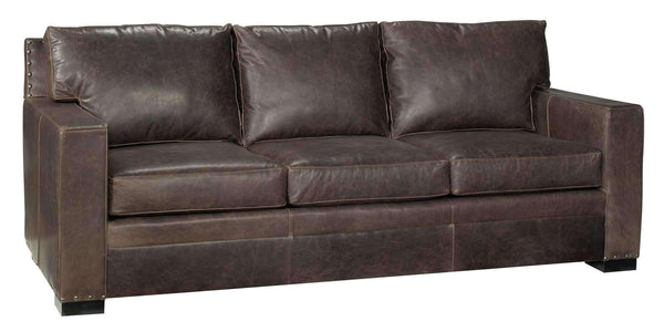 "Living Room Wellington ""Designer Style"" Leather Track-Arm Pillow-Back Sofa"