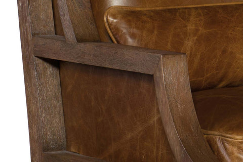 "Livingston Buckaroo Colt ""Quick Ship"" Deconstructed Exposed Wood Wingback Leather Accent Chair"