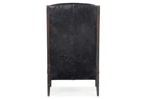 "Livingston Mesmerize Iron ""Quick Ship"" Deconstructed Exposed Wood Wing Back Leather Accent Chair"