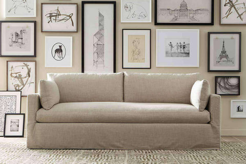"Liza I ""Designer Style"" Single Bench Seat Slipcovered Sofa"