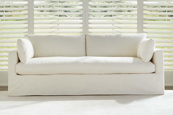 "Liza I 88 Inch ""Quick Ship"" Slipcovered Bench Seat Sofa"