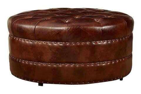"Ottomans And Benches Lockwood ""Quick Ship"" Large Tufted Round Ottoman"