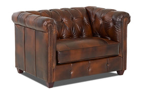 "London ""Ready To Ship"" Leather Accent Chair and Ottoman Combination"