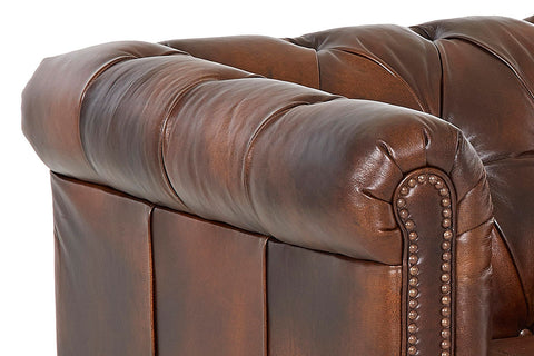 London Chesterfield Large Leather Chair w/ Decorative Nailhead Trim