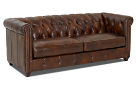 London Chesterfield Leather Sofa Set With Nailhead Trim