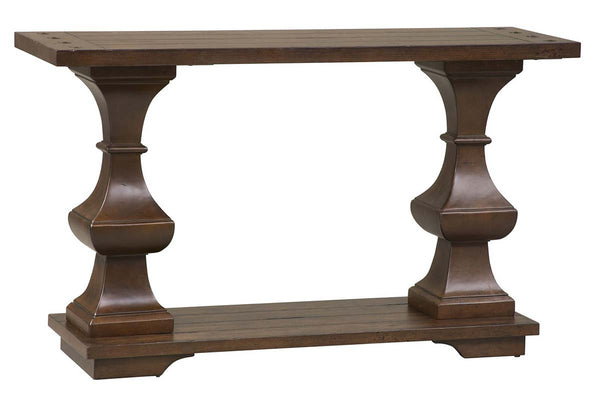 Lucca I Kona Brown Spanish Style Sofa Table With Lower Storage Shelf