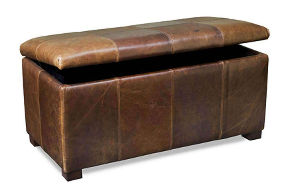 on sale 36c97 e7f48 Lyle Leather Upholstered Patchwork Chest Ottoman With Storage