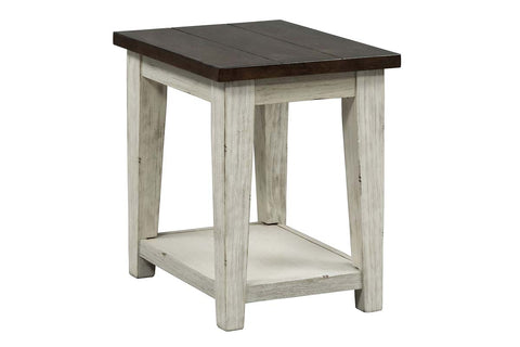 Lyndhurst Chair Side Table With Distressed White Wood Base And Weathered Bark Plank Top