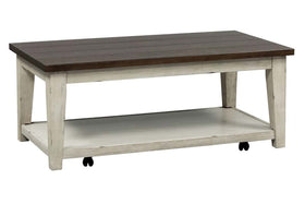 Lyndhurst Rectangular Weathered White Base With Plank Top Coffee Table