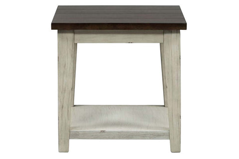 Lyndhurst Square End Table With Distressed White Wood Base And Weathered Bark Plank Top
