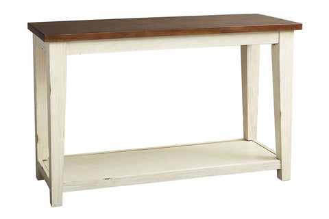 Lyndhurst Sofa Table With Distressed White Wood Base And Weathered Bark Plank Top