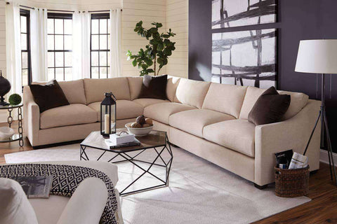 "Macy ""Designer Style"" Large Scale Sloping Track Arm Fabric Sectional"