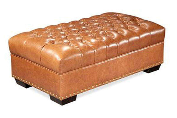Malcolm 52 Inch Long Chesterfield Tufted Leather Coffee Table Bench