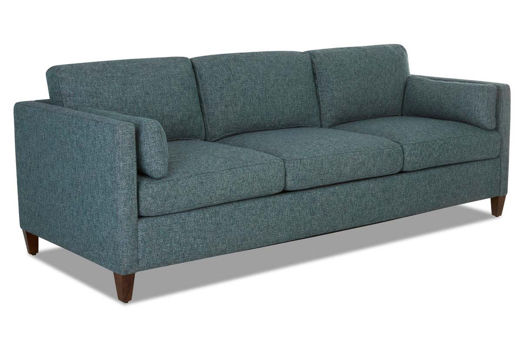 Picture of: Marcie Fabric Mid Century Track Arm Deep Seat Sofa Set