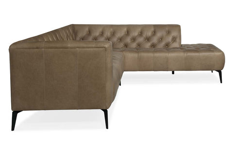 Mariano Right Bumper Chaise Quick Ship Tufted Leather Sectional