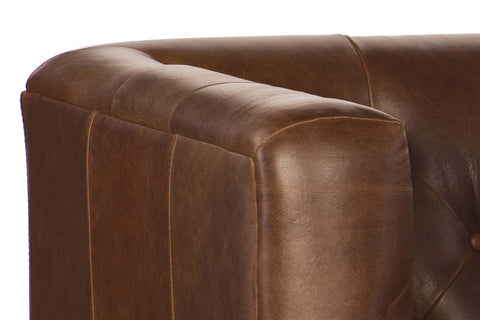 "Mariano 84 Inch ""Quick Ship"" Tufted Top Grain Leather Tight Back Sofa"