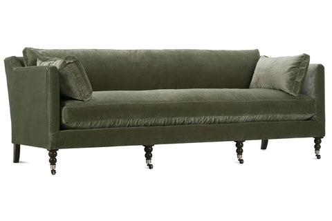 "Marjorie ""Quick Ship"" 90 Inch Single Bench Seat Green Velvet Sofa"