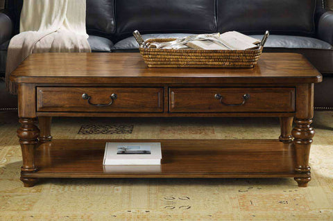 Living Room Furniture Coffee Tables Mcdowell Traditional Wood Coffee Table With Shelf And Drawers