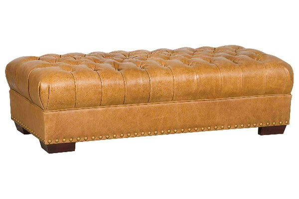 Ottomans & Benches Merrick Large Rectangular Leather Chesterfield Tufted Bench Ottoman