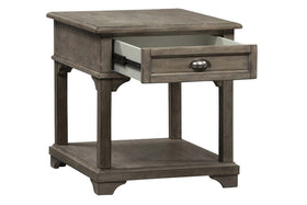 Miles Weathered Taupe Traditional Single Drawer End Table With Lower Shelf